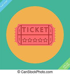 cinema, -, illustrazione, vettore, retro, biglietto
