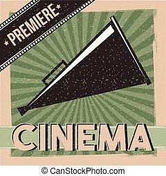 cinema, premiere, manifesto, direttore, altoparlante, vendemmia