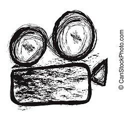cinema, scarabocchiare, vettore, proiettore