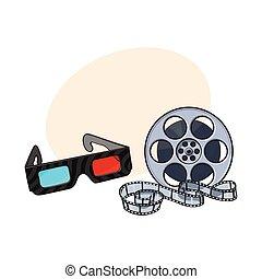 cinema, stereoscopic, blu-rosso, occhiali, bobina, film, 3d