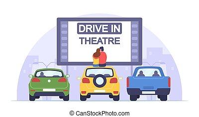 cinema, theater., drive-in, auto, romantico, sedere, automobile, relazioni, orologio, film, donna, datazione, amare, uomo, coppia, tetto