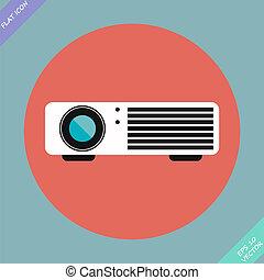 cinema, vettore, -, illustration., proiettore