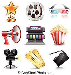 cinema, vettore, set, icone