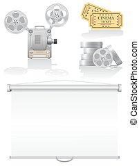 cinema, vettore, set, illustrazione, icone