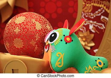 cinese, bambola, tiger, scena, anno, nuovo, zodiaco, 2010