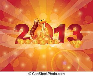 cinese, bokeh, serpente, anno, nuovo, 2013