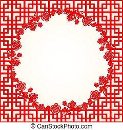 cinese, fiore, ciliegia, fondo, anno, nuovo