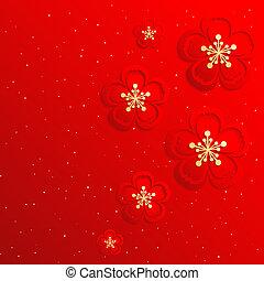 cinese, fiore, ciliegia, orientale, fondo, anno, nuovo