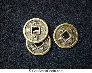 cinese, monete, shui, feng