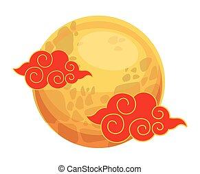 cinese, nubi, luna