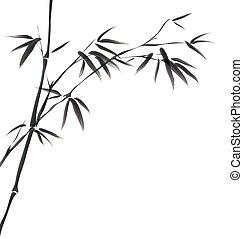 cinese, pittura, bambù