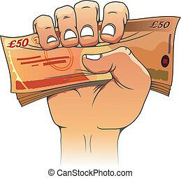 cinquanta, libbre, banconota, mano