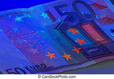cinquanta, luce, euro, ultravioletto, sotto