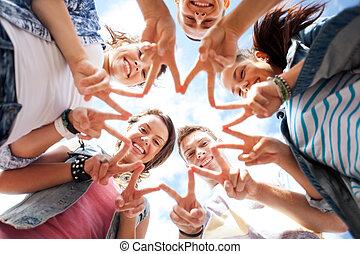 cinque, esposizione, gruppo, adolescenti, dito