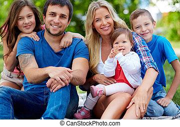 cinque, famiglia, felice