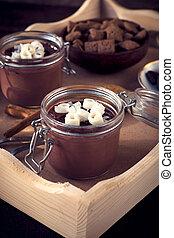 cioccolato, dolce, cotta, panna