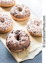 cioccolato, dolce, donuts