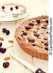 cioccolato, dolce, torta, crostata