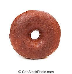 cioccolato, fondo, isolato, donut, saporito, bianco