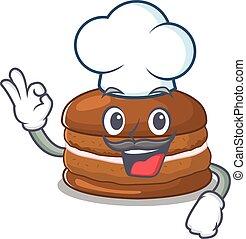 cioccolato, macaron, cappello, chef, carattere, bianco, il portare, cartone animato, lavorativo