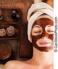 cioccolato, maschera, facciale, terme