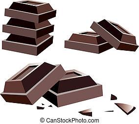 cioccolato, vettore, barre