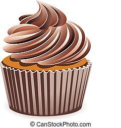 cioccolato, vettore, cupcake