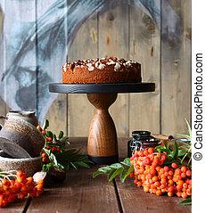 cioccolato, vita, torta, ancora, noci