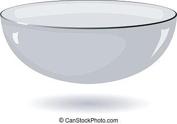 ciotola metallo, illustrazione, vettore, fondo, bianco