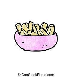 ciotola, patatine fritte, cartone animato