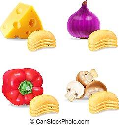 cipolla, fungo, patatine fritte, set., collezione, realistico, aroma, paprica, formaggio