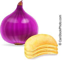 cipolla, patata, isolato, illustrazione, patatine fritte, 3d