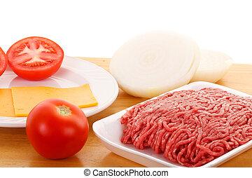 cipolle, suolo, pomodori, manzo, formaggio