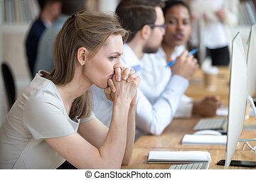circa, affari donna, momenti, dubbio, impiegato, problema, detenere