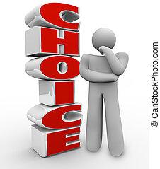 circa, destra, parola, leva piedi, pensare, decisione, scelta, accanto, persona, scegliere, domandare, tentando, pensare, opzione