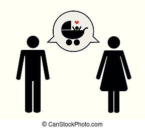 circa, donna, pictogram, linguaggio infantile, uomo