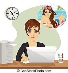circa, donna, ufficio, seduta, laptop, giovane, vacanza, fare un sogno