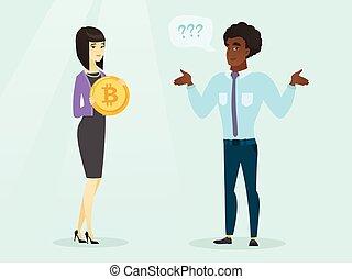 circa, suo, esprimere, bitcoin., uomo, unawareness