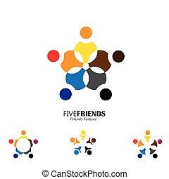 circle., amici, felice, insieme, icona, vettore, concetto