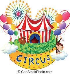 circo, cartello, carnevale