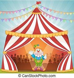 circo, cartone animato, pagliaccio, tenda
