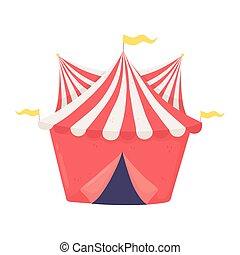 circo, cartone animato, tenda