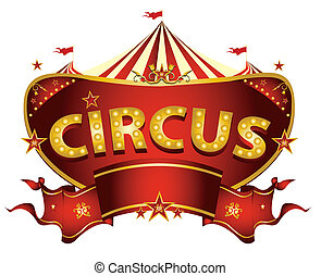 circo, rosso, segno