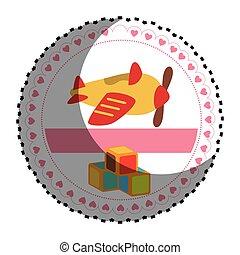 circolare, adesivo, cubi, aeroplano, giocattoli