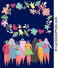 circondato, tuo, cornice, fiori, posto, differente, set, donne, text.