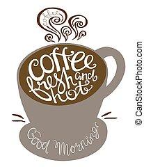 citazione, fresco, caldo, forma, cups., caffè