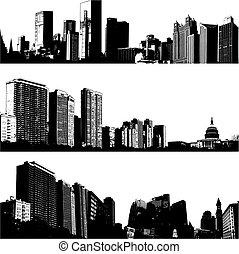 città, 3, vettore, skylines