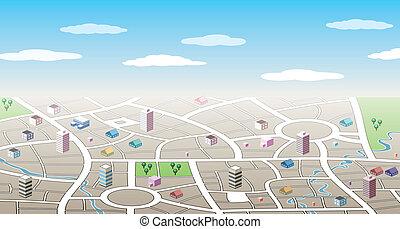 città, 3d, mappa