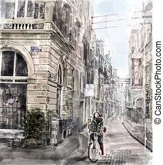 città, acquarello, bicycle., ragazza, strada., sentiero per cavalcate, style., illustrazione
