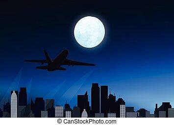 città, aeroplano, notte